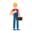 builder in hardhat and with toolbox vector image vector image