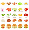 burger ingredient icons set isometric style vector image vector image