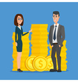 Business people stand near a pile of coins The vector image vector image