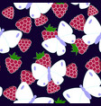 butterflu and raspberry pattern vector image vector image