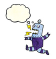 cartoon terrified robot with thought bubble vector image vector image
