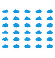 cloud icon set blue color on white background sky vector image