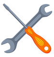 colorful cartoon white screwdriver wrench cross vector image