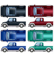 Different color of pick up trucks vector image vector image