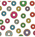 donut pattern in colorful silhouette in white vector image