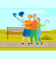 elderly friends holding mobile phone and taking vector image