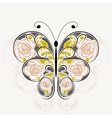 Floral pattern in shape of a butterfly vector image