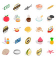 food preparation icons set isometric style vector image
