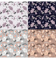 Four seamless patterns with animals and flowers vector image