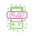 gamepad play neon video game vector image vector image