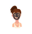 girl with cosmetic black mask on her face young vector image vector image