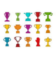 gold cup icon set color outline style vector image vector image