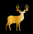 gold silhouette of reindeer with big horns on vector image vector image