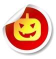 Halloween pumpkin flat icon sticker vector image vector image