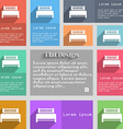 Hotel bed icon sign Set of multicolored buttons vector image vector image