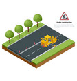 isometric pavement asphalt road marking paint and vector image vector image