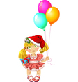 Little fairy in red dress with balloons in red vector image