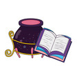 magic witch cauldron with book vector image vector image