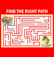 maze game find a pirates way to treasure island vector image vector image