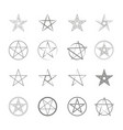 monochrome icon set with pentagrams vector image