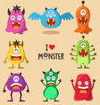monster funny and cute character set vector image vector image