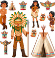 Native American Indian people and tepee vector image vector image