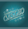 neon sign luminous word casino on dark background vector image