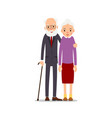 old couple two aged people stand elderly man vector image vector image