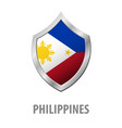 philippines flag on metal shiny shield vector image