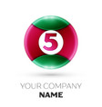 realistic number five symbol in colorful circle vector image vector image