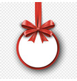 realistic red silk gift bow with ribbon on round vector image vector image