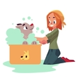 Red haired teenage girl washing bathing her dog vector image vector image