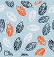 seamless pattern with leaves on blue background vector image vector image