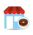 selling fresh donuts vector image vector image