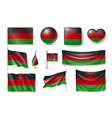 set malawi flags banners banners symbols vector image