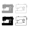 sewing machine icon outline set grey black color vector image