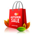 shopping bag with autumn sale on white background vector image vector image