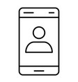 smartphone with contact on screen thin line icon vector image vector image