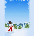 snowman in winter landscape vector image
