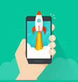 startup concept flat style quick rocket vector image vector image