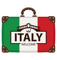 suitcase in colors of italian flag vector image vector image