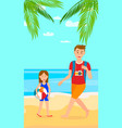 summer vacation on sea resort vertical flat flyer vector image vector image
