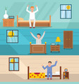 wake up happy banner horizontal set flat style vector image