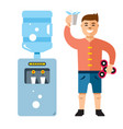 water cooler and man flat style colorful vector image