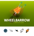 Wheelbarrow icon in different style vector image vector image