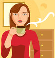 woman-drinking-coffee vector image