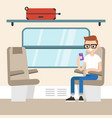 young passenger sitting in the train compartment vector image vector image
