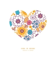 colorful oriental flowers heart silhouette vector image