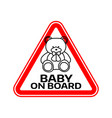 baby on board sign with child bear toy silhouette vector image