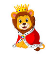 cartoon lion in king outfit vector image